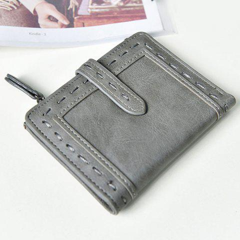 Fancy Stitching Bifold Small Wallet - GRAY  Mobile