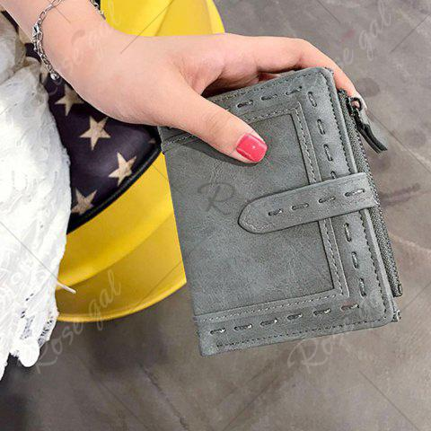 Store Stitching Bifold Small Wallet - GRAY  Mobile