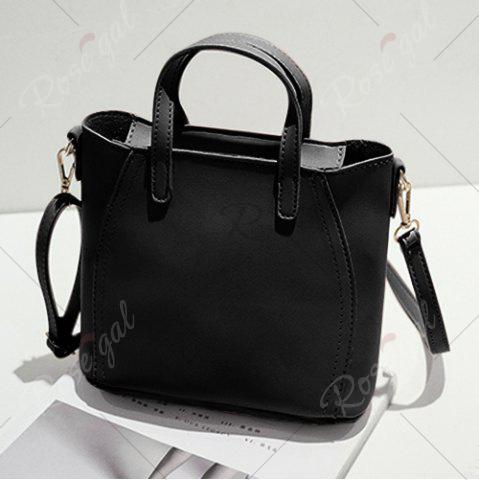Discount Flower Embroidery PU Leather Tote Bag - BLACK  Mobile