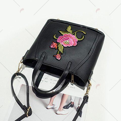 Chic Flower Embroidery PU Leather Tote Bag - BLACK  Mobile