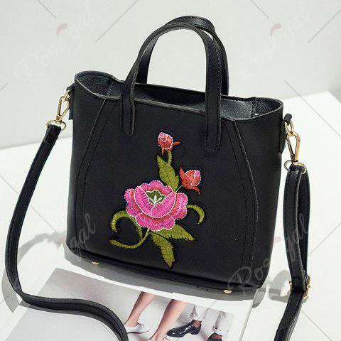 Outfit Flower Embroidery PU Leather Tote Bag - BLACK  Mobile