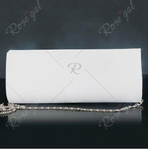 Outfits Rhinestone Satin Pleated Evening Bag - WHITE  Mobile