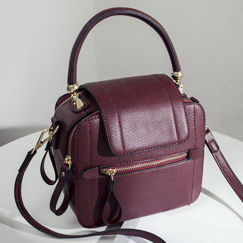 Top Handle Zippers Handbag - Wine Red
