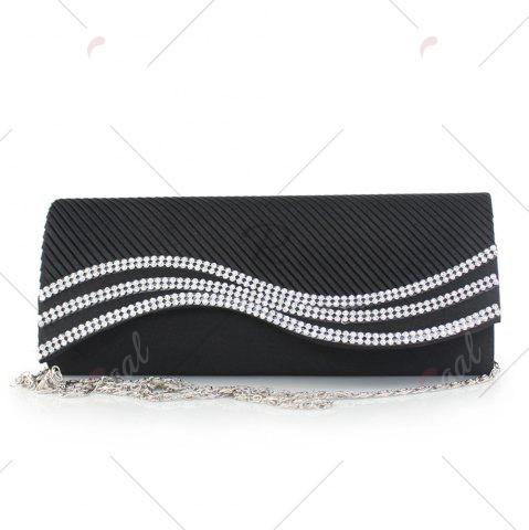 Store Rhinestone Satin Pleated Evening Bag - BLACK  Mobile