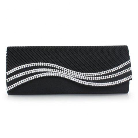 Affordable Rhinestone Satin Pleated Evening Bag - BLACK  Mobile