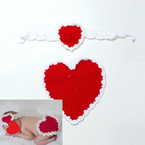 Discount Knitted Love Heart Photography Clothes Set For Baby - RED  Mobile