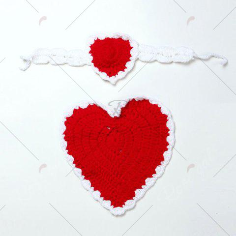 New Knitted Love Heart Photography Clothes Set For Baby - RED  Mobile