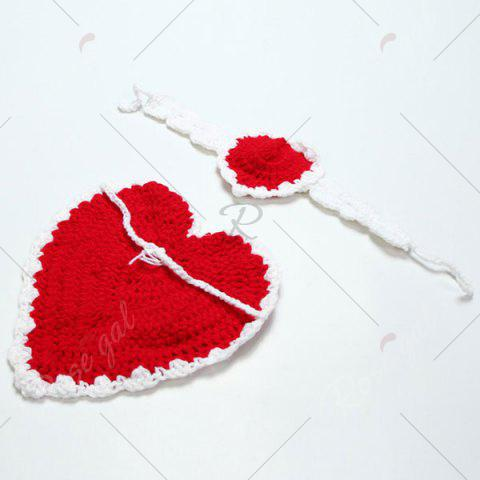 Store Knitted Love Heart Photography Clothes Set For Baby - RED  Mobile