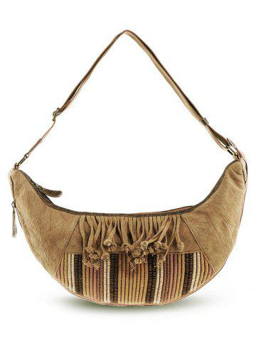 Tassel Linen Ethnic Crossbody Bag Kaki