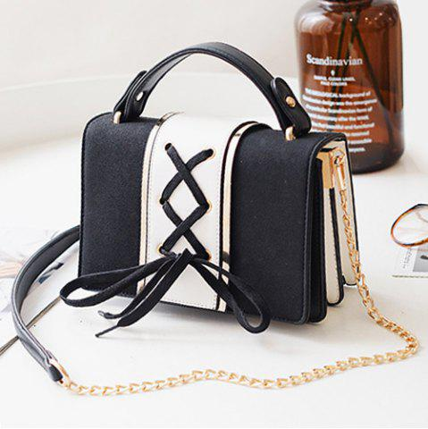 Outfit Lace Up Suede Panel Crossbody Bag - BLACK  Mobile