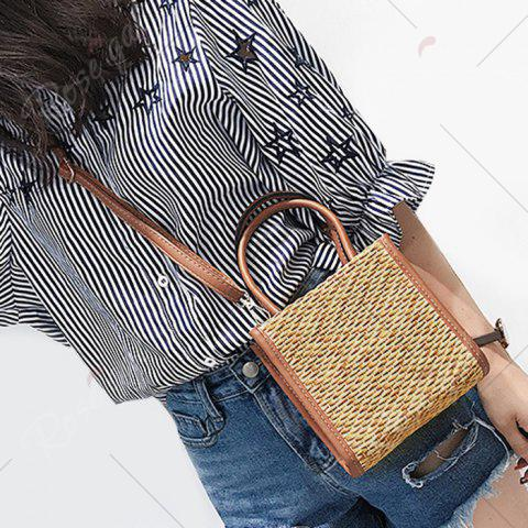 Discount Straw Woven Tote Bag - BROWN  Mobile