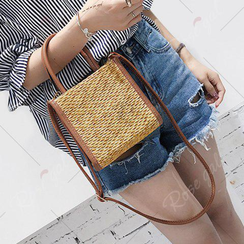 Online Straw Woven Tote Bag - BROWN  Mobile