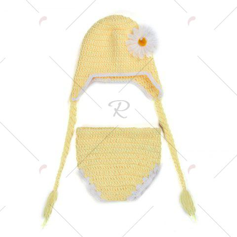 Chic African Chrysanthemum Baby Knitted Photography Clothes Set - YELLOW  Mobile