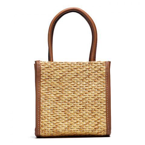 Sale Straw Woven Tote Bag BROWN