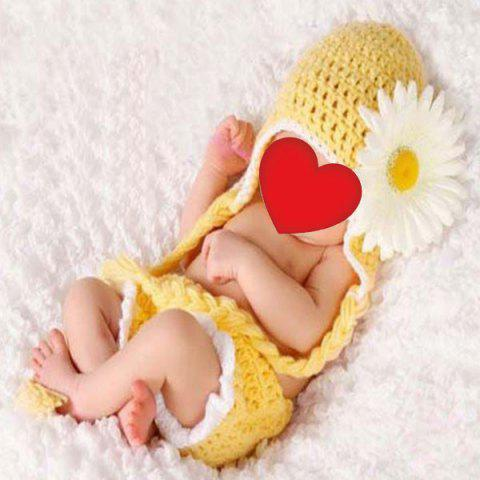 Hot African Chrysanthemum Baby Knitted Photography Clothes Set YELLOW