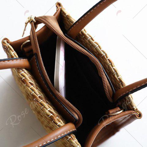 Fancy Straw Woven Tote Bag - BROWN  Mobile