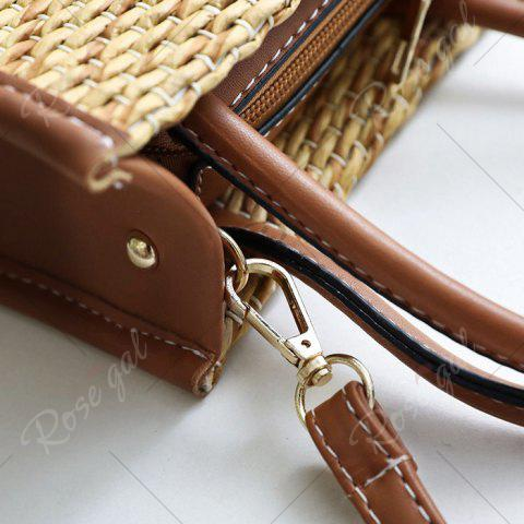 Cheap Straw Woven Tote Bag - BROWN  Mobile