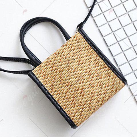 Store Straw Woven Tote Bag - BLACK  Mobile