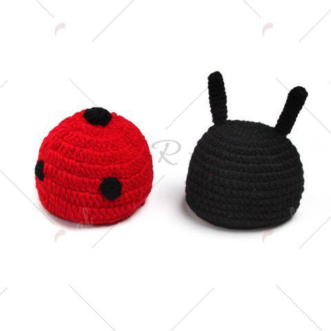 Hot Ladybird Knit Photography Clothes Set For Baby - BLACK RED  Mobile