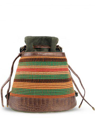 Chic Linen Ethnic Convertible Backpack ARMY GREEN