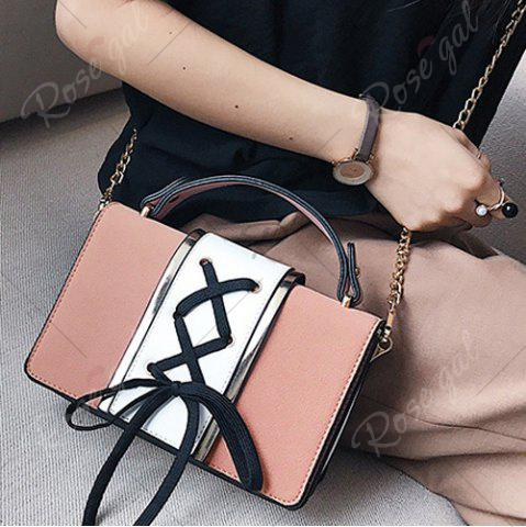 Latest Lace Up Suede Panel Crossbody Bag - PINK  Mobile