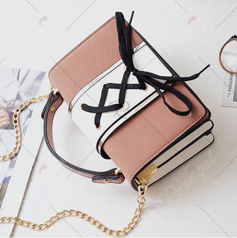 Fancy Lace Up Suede Panel Crossbody Bag - PINK  Mobile