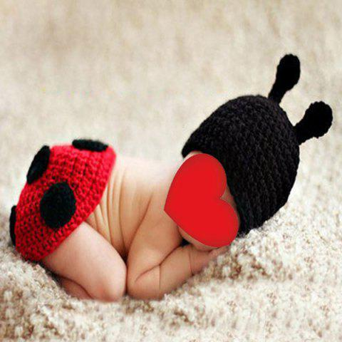 Store Ladybird Knit Photography Clothes Set For Baby BLACK RED
