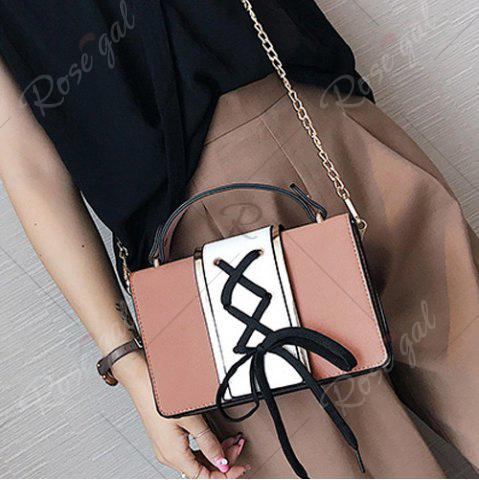 Best Lace Up Suede Panel Crossbody Bag - PINK  Mobile