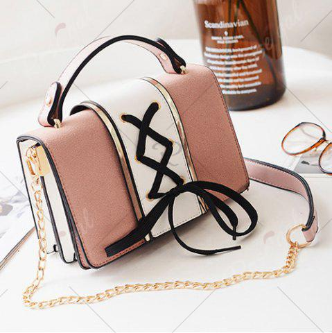 Outfits Lace Up Suede Panel Crossbody Bag - PINK  Mobile
