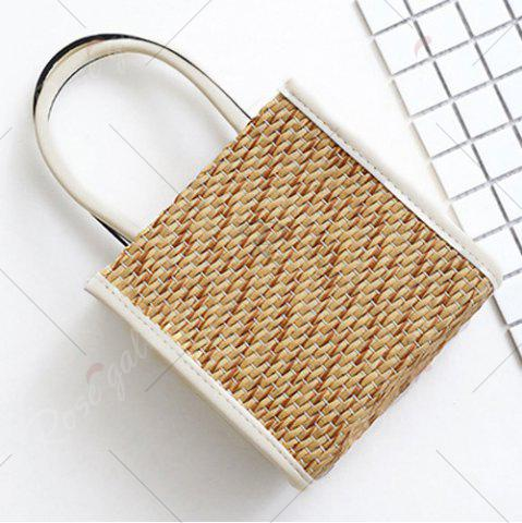 Affordable Straw Woven Tote Bag - WHITE  Mobile