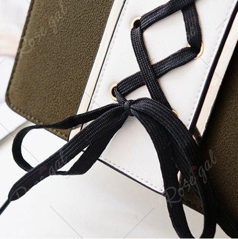 Latest Lace Up Suede Panel Crossbody Bag - BLACKISH GREEN  Mobile