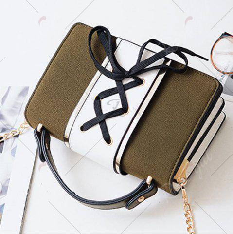 Shop Lace Up Suede Panel Crossbody Bag - BLACKISH GREEN  Mobile