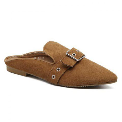Eyelets Buckle Strap Slippers - Brown - 38
