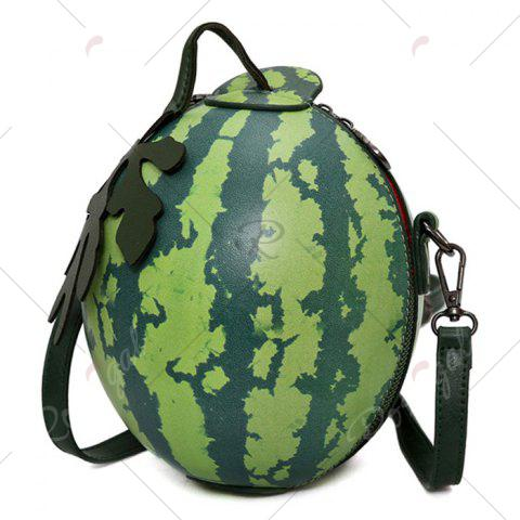 Affordable Funny Watermelon Crossbody Bag - GREEN  Mobile