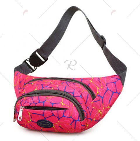 Outfits Geometric Print Waist Bag - ROSE RED  Mobile
