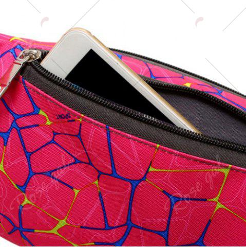 Best Geometric Print Waist Bag - ROSE RED  Mobile