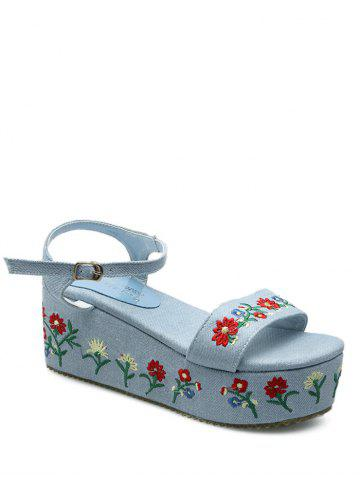 Embroidery Denim Platform Sandals - Light Blue - 38