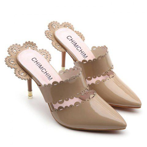 Scalloped Stiletto Heel Slippers - Apricot - 38