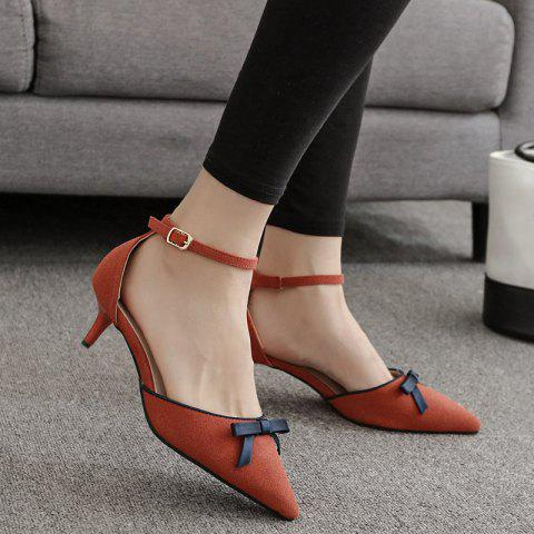 Sale Two Piece Bowknot Suede Pumps DEEP ORANGE 39