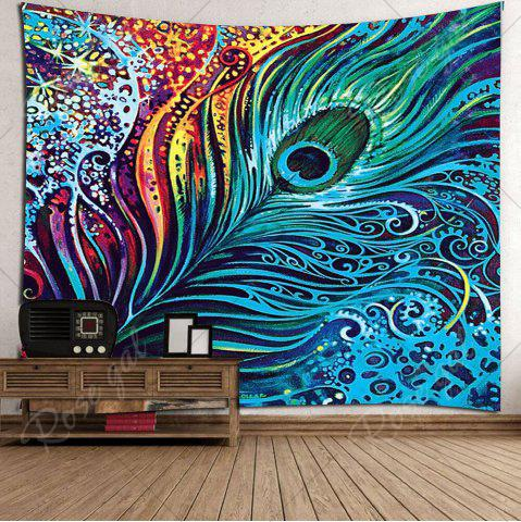 Trendy Peacock Feather Printed Wall Hanging Tapestry - W79 INCH * L59 INCH COLORFUL Mobile
