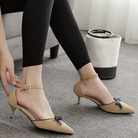 Chic Two Piece Bowknot Suede Pumps