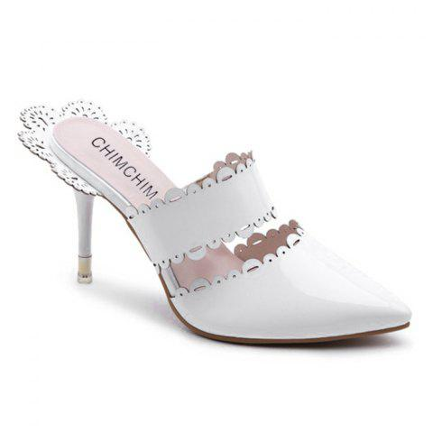 Affordable Scalloped Stiletto Heel Slippers WHITE 39