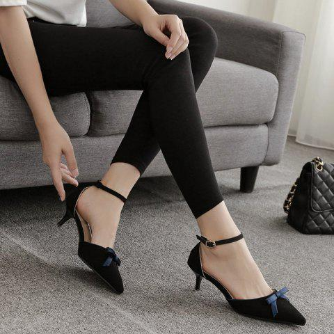 Affordable Two Piece Bowknot Suede Pumps BLACK 37