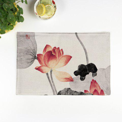 New Chinese Lotus Dining Decor Heat Insulated Placemat COLORMIX PATTERN 1