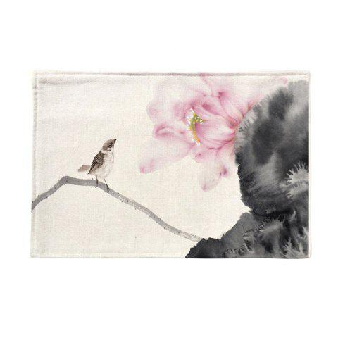 Unique Chinese Ink Painting Linen Rectangle Placemat COLORMIX PATTERN C