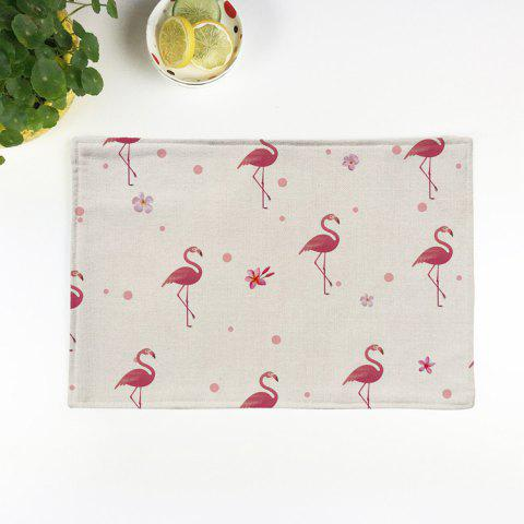 Chic Table Decorative Flamingo Pattern Linen Placemat - PATTERN D BEIGE Mobile