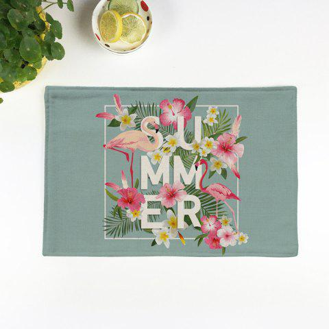 Table Decorative Flamingo Pattern Linge de maison Placemat Vert clair Texture B