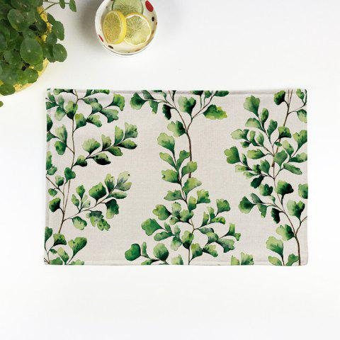 Online Linen Tropical Plants Print Placemat For Table BEIGE PATTERN B