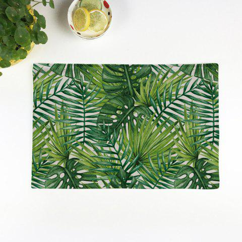 Buy Fern Plant Heat Insulation Linen Placemat GREEN 28*44CM(3)