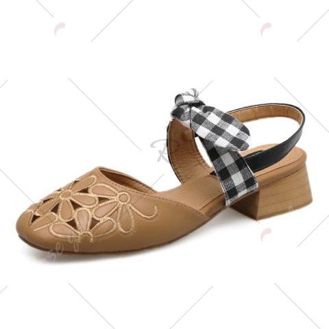 Store Hollow Out Plaid Pattern Sandals - 39 BROWN Mobile